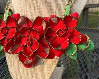 Bright Red Rose Vintage Zipper Necklace