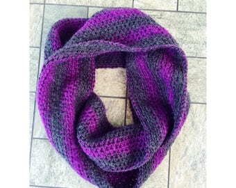 Grey and Purple Infinity Scarf