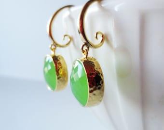 Lime green earrings. Framed glass earrings. Gold dangle earrings.  Citrus earrings. Light green earrings. Bright green earrings.