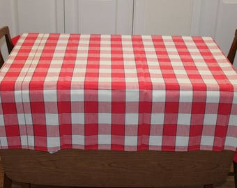 Startex Red and White Plaid Print Tablecloth