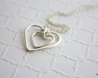 Silver Heart Necklace, Double Heart Necklace, Mother Daughter, Silver Layering Necklace