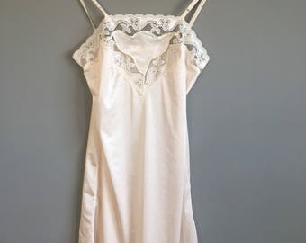 Lace Champagne Nightgown Slip 1970s - small