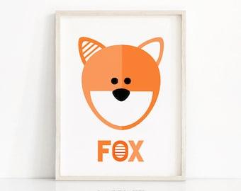 Printable Kids Room Art, Kids Wall Art, Fox Art Print, Kids Print, Animal Nursery Art, Orange Nursery Decor, Download Printable Art For Kids