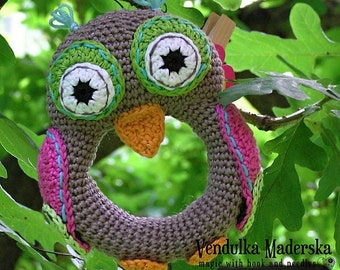Crochet  owl rattle pattern