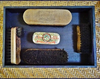 Vintage Shoe Shine Brush Collection, Wooden Brushes Shoe Shine Advert, Remploy Brush, Instant Collection, Shadow Box Supplies Man Cave Decor