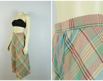 Vintage Skirt 80s Pastel Plaid Skirt Size Modern Size Small