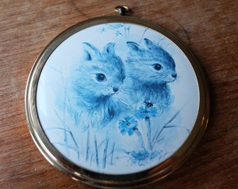 Vintage Brass Framed Baby Bunny Rabbit Print Wall Hanging