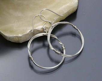Dangle Hoop Earrings- Sterling Silver Earrings- Wire Hoops- Circle Earrings- Front facing Hoops- Handmade Ear Wires- Gift for Her