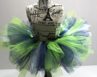 Bright Green/Navy Blue/White Tutu Skirt For Doll or Stuffed Animal, Girls Toy #DT-42