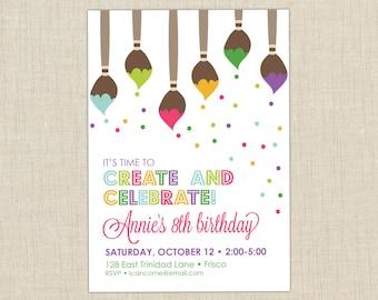 Paint Party Invitation. Art Birthday Party Invitation. Art Pary. Paint Birthday Party