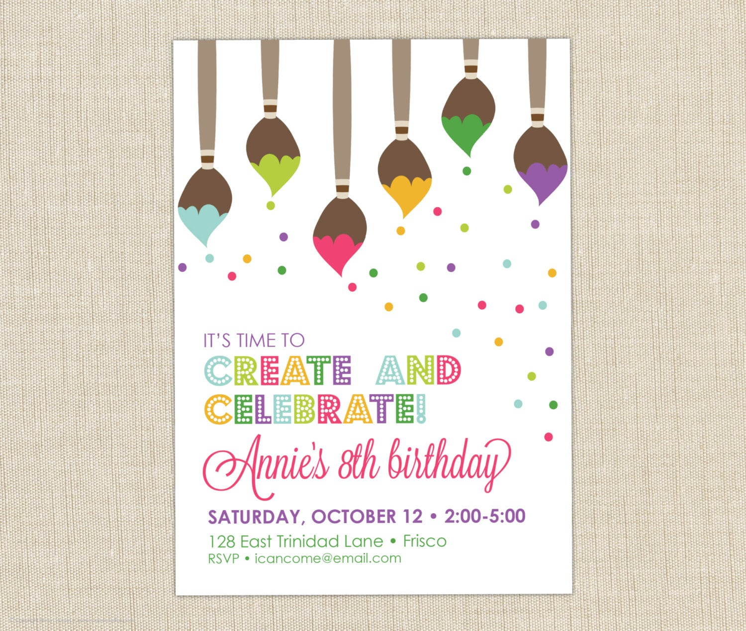 Paint Party Invitation. Art Birthday Party Invitation. Art