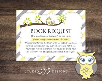 Instant Download Yellow Owl Book Request, Yellow Grey Owl Book in Lieu of Card, Unisex Owl Theme Baby Shower Book Instead of Card 23G