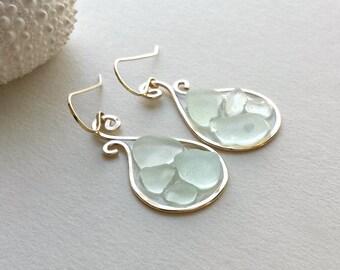 Aqua Sea Glass Earrings, Beach Glass Hoops, Resin Hoop Earrings, Paisley Hoops, Hawaiian Sea Glass:  Ready Made