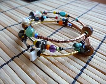 Gemstone Bead #Bangle, Memory #Wire #Bracelet, Random Beaded #Bracelet, Multiple Strand Bracelet, Stone Beaded Bracelet, Gypsy Soul Bracelet