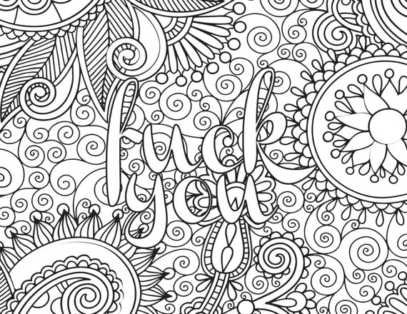 Adult Coloring Book Page Fuck You