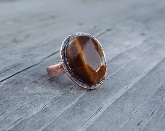Tiger's Eye Ring Electroformed in Copper // Size 7 1/2