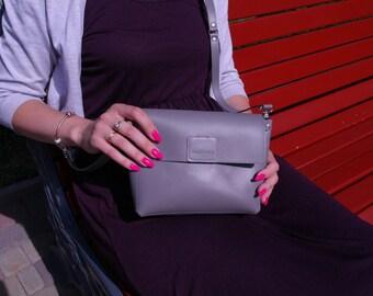 Leather Crossbody Bag, Gray bag, Leather purse, Everyday Purse, Shoulder Women Purse, Shoulder Bag, Women Crossbody, bag evening