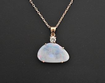 14K Rose Gold Natural Boulder Opal and Diamond Pendant