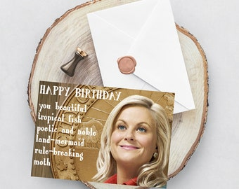Funny Leslie Knope Printed Greeting card, parks and rec greeting card, card for him/her