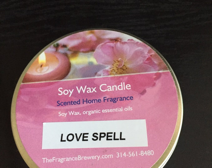 Scent Candle, Love Spell Type Aroma Candle, Soy Candle, Travel Candle, Candle In Tin, Gift For Her, Spa Candle, Christmas Gift,