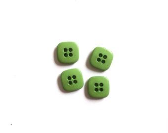 Green Vintage Button, 4 Vintage Buttons, Square, 11mm
