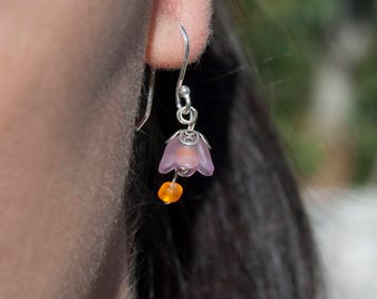 925 Silver bells earrings lilac-colored