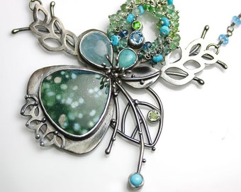 Special Offer - Aquamarine and Tahitian Snow Agate Sprouting Florals Necklace