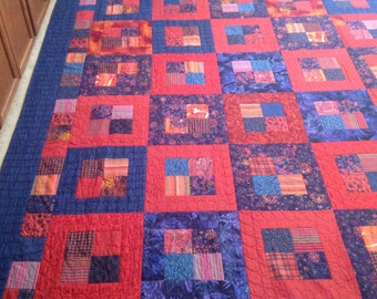 Scrappy Autumn Squares King Size Quilt