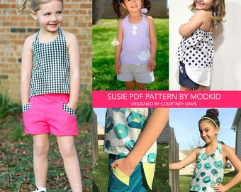 Susie Halter Top and Shorts PDF Downloadable Pattern by MODKID... sizes 2T to 12 Girls included - Instant Download
