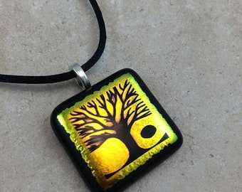 ON SALE Tree of Life Necklace, Tree Pendant, Gold Yellow Dichroic Pendant, Fused Glass Jewelry, Dichro Glass Jewelry, Dichroic Pendant - HEA