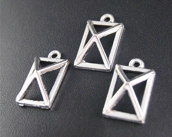 30pcs Antique Silver Geometry Charms Pendant A2085