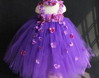 Purple Flower Girl Dress with Flowers, Flower Girl Dress, Purple tulle dress, Flower Girl