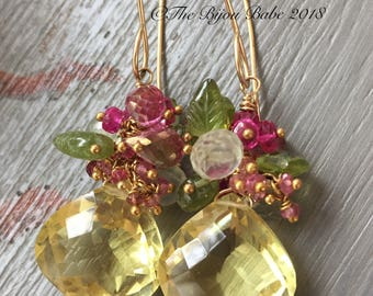 Lemon Quartz Cluster Earrings  Multi Gemstone Cluster Earring