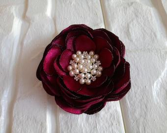 Wine Hair Flower Clip, Dark Red, Maroon, Bridal Fascinator, Hair Piece, Dark Red, Wedding, Flower Girl, Hair Accessories, Bridesmaid Flower
