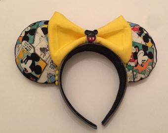 Mickey Ears, Mickey Ears Headband, Comic Mickey Ears, Mickey Mouse Ears,
