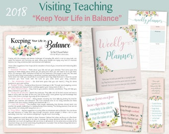 2018 Visiting Teaching Message, lds Printable, weekly planner, Quotes LDS, VT LDS handouts, keep your life in balance, Relief Society