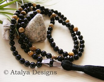 Black Onyx and Picture Jasper Gemstone Mala Prayer Beads - Yoga Jewellery - Made in the UK