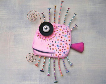 Pink Guppy, MADE to ORDER, Original Found Object Wall Sculpture, Wood Carving, Fish Wall Art, Marine Art, by Fig Jam Studio