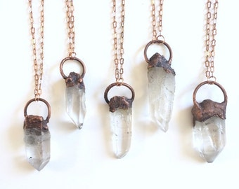 Huge Quartz Point Amulet Necklace. Long Chain Raw Crystal Point Pendant Necklace. Copper Layering Necklace.