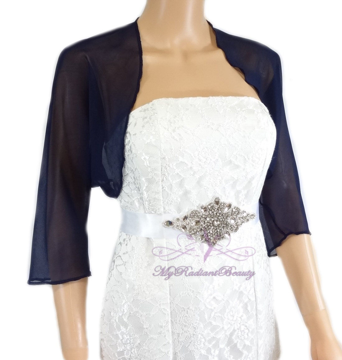 Navy Blue Chiffon Jacket Wedding Bolero Silk Jacket Wedding