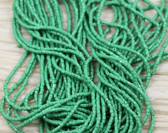 """10/0 2Cut Opaque Green Czech seed beads - 1 hank - 12 / 20"""""""