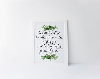 Isaiah 9:6 Printable · Christian Christmas Art Print · Calligraphy Scripture  · Pine Wreath