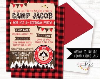 Camping Birthday Invitation, Lumberjack Invitation, Camping Invitation, Camp Birthday, Lumberjack Birthday Invite, Buffalo Plaid, PRINTABLE