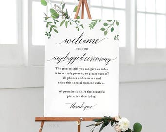 Modern Greenery Unplugged Wedding Sign, Unplugged Ceremony Sign Printable, Unplugged Sign, Unplugged Wedding Download, PDF #E023