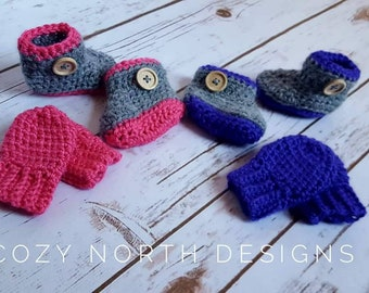 Baby Booties With Matching Mittens