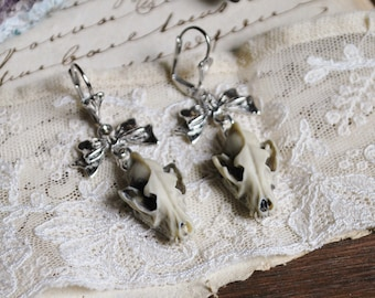 Wolf skull earrings, faux taxidermy , oddities, silvertone , Skull jewelry, gothic steampunk, animal skull,  gothic victorian, pagan, witch