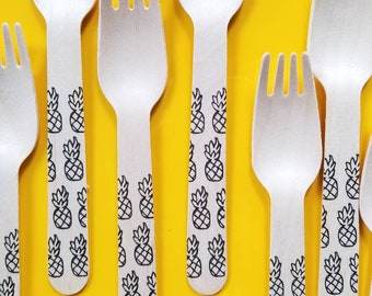 Pineapples Wooden Forks - Pick Your Quantity