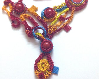 Beaded Red and Orange Statement Necklace/ Lariat Necklace/ Freeform Necklace