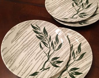 Royal C 55 Underglaze Set of 4 Bread and Butter / Salad Plates - Green Branch / Limb with Leaves and Gray Stripes in the Background