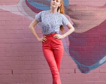 Cindy-Lou   1950's Inspired Red High Waist Cigarette Pants